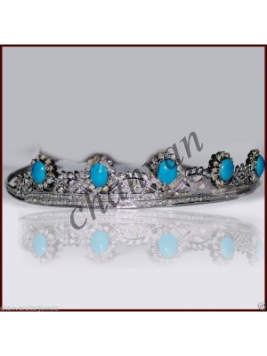 Delicate Rose Cut Diamond 925 Silver Turquoise Tiara Crown