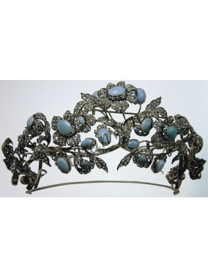 PARTY WEAR Rose Cut Diamond 925 Silver Turquoise Tiara