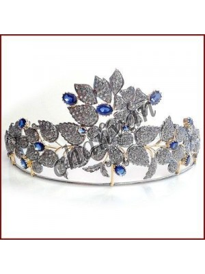 Floral Party Wear Rose Cut Diamond Silver Sapphire Tiara