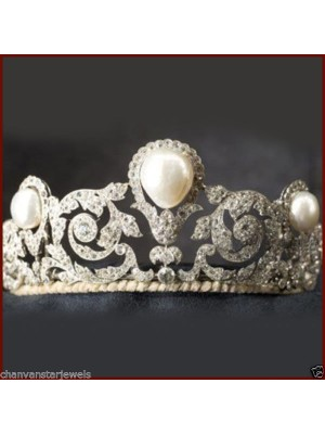 Princess Antique Silver Rose Cut Diamond Pearl Tiara Crown