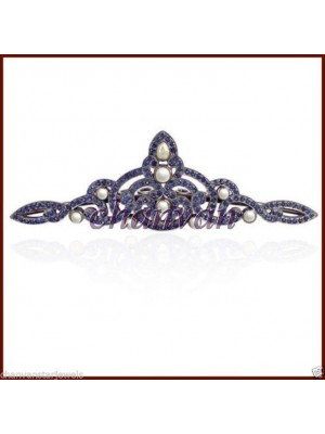 Pearl Magic Royal Rose Cut Sapphire Sterling Silver Tiara Crown