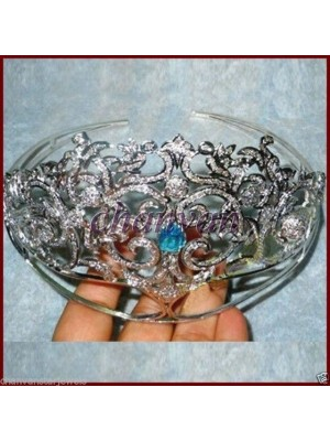 Royal Party Vintage Insp Rose Cut Diamond Silver Topaz Tiara