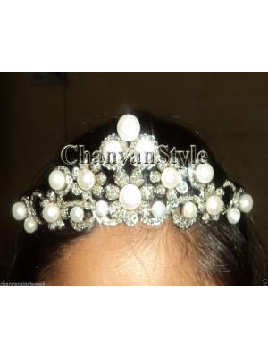 Magnificent Rose Cut Diamond 925 Silver Pearl Tiara