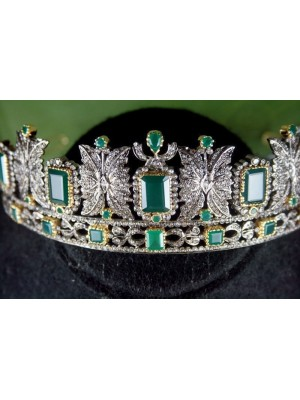 Bold Bride Diamond 925 Silver Emerald Tiara Crown
