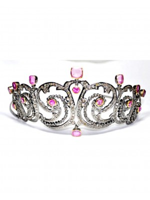 Priceless Ancient Glory Rose Cut Diamond 925 Silver Tiara Crown