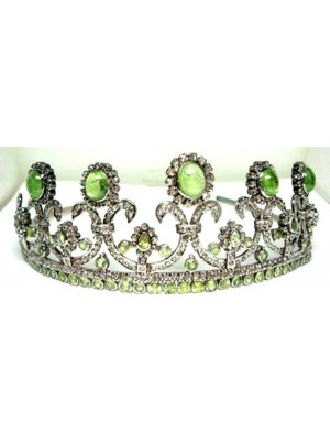 Queenly Rose Cut Diamond 925 Silver Peridot Crown