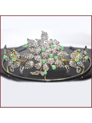 Graceful Rose Cut Diamond Silver Emerald Tiara Crown
