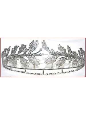 Divine Antique Touch Rose Cut Diamond 925 Silver Tiara Crown