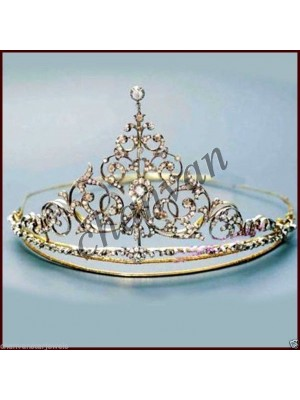 Royal Party Rose Cut Diamond 925 Silver Bridal Tiara Crown