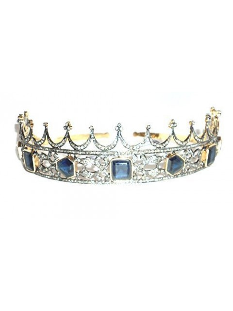 Royal Treat Rose Cut Diamond Silver Sapphire Tiara
