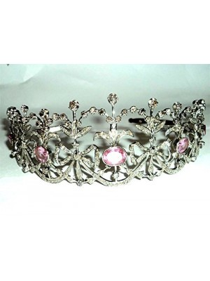 Bridal Rose Cut Diamond Tiara Sterling Silver Vintage Style Crown