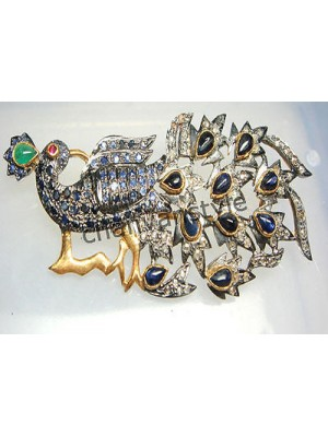 Dancing Peacock Rose Cut Diamond 925 Silver Sapphire Brooch Pin