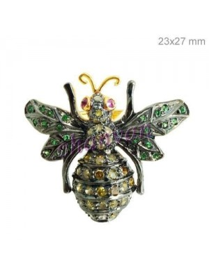 Colorful Bee 925 Sterling Silver Pave Diamond Brooch Pin