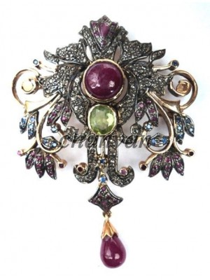 Dangling Stone Antique Silver Rose Cut Diamond Ruby Pendant Brooch Pin