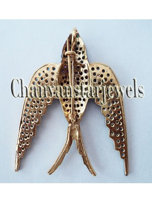 Amaze the World RoseCut Diamond Silver Bird Brooch Pendant