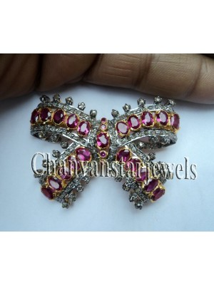 Classic Bow Pave RoseCut Diamond Silver Ruby Brooch Pin
