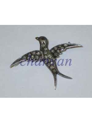 Dainty Flying Bird Antique Silver Rose Cut Diamond Pendant Brooch