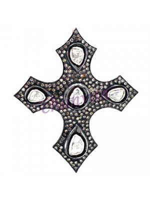 Christmas Gift Silver Cross Rose Cut Diamond Polky Brooch Pendant