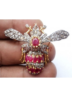 Busy BEE 925 Silver Vintage Look Rose Cut Diamond Brooch Pendant