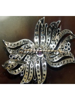 Attractive Traditional Design Diamond 925 Silver Brooch Pin Pendant