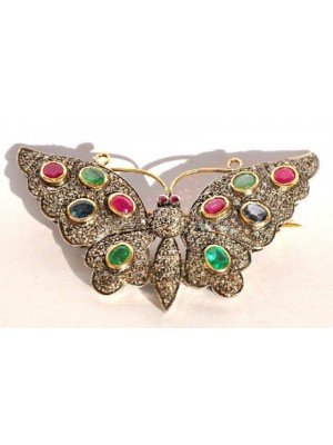 Colorful Butterfly Rose Cut Diamond 925 Sterling Silver Brooch