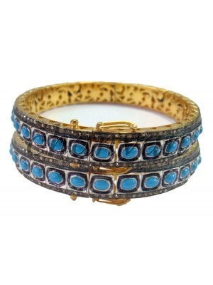 Antique Style Rose Cut Diamond Silver Turquoise Bracelet (2Pc)