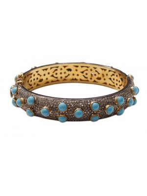 Adorable Rose Cut Diamond 925 Silver Turquoise Blue Bracelet