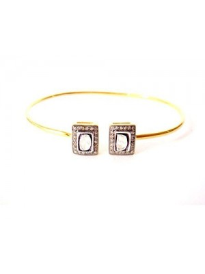 Beauty of Square Shape Pave Diamond Polki Gold Dipped Silver Bracelet