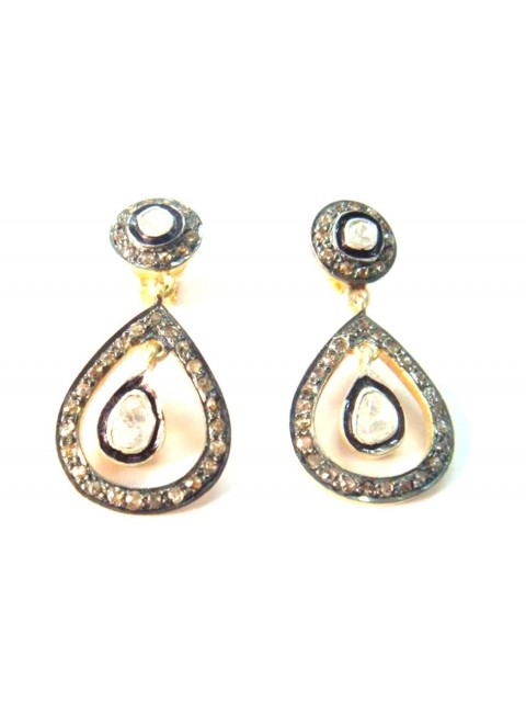 Antique Inspire Rose Cut Diamond 925 Silver Dangle Polki Earring