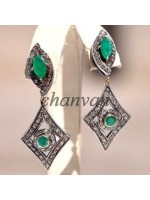 Latest Rose Cut Natural Diamond 925 Silver Emerald Earring