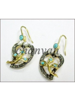 Antique Insp.Earring Pave Diamond 925 Silver Turquoise Pearl Stud