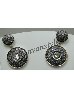 Ancient Tale 925 Sterling Silver Polki Pave Diamond Earring