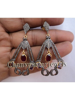 Admirable Vintage INSP Rose Cut Diamond Silver Pave Earring