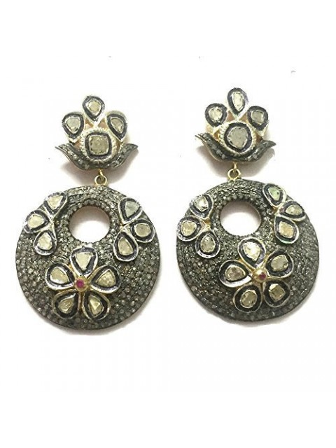 Ancient Glory Rose Cut Diamond Polky Sterling Silver Earring
