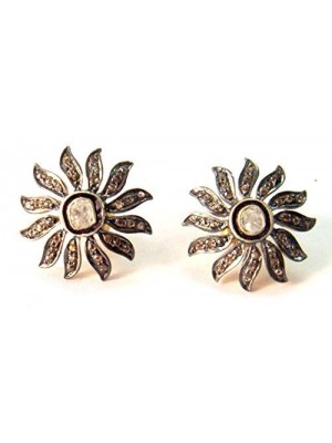 Rose Cut Diamond 925 Sterling Silver Vintage Style Earrings