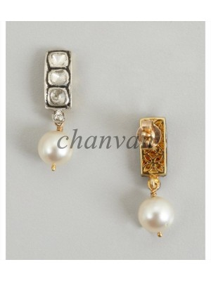 Droopy Pearl Polky Diamond Sterling Silver Earring