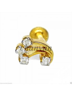 Wear Anywhere Diamond Solid 14K Gold Nose Piercing Pin