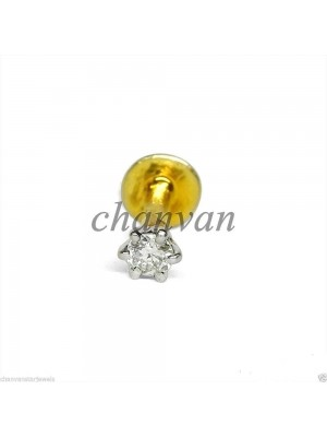 Dainty Diamond Solid 14K Gold Nose Piercing Pin