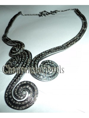 Timeless Antique Touch 925 Silver Rose Cut Diamond Necklace