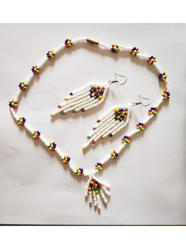 Boho Style Seed Bead Women Fringe Tassel Handmade Necklace Set