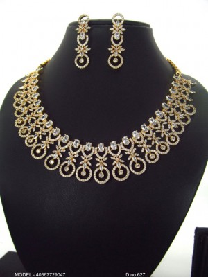 Indian Pakistani Bridal High Quality CZ Collar Necklace Earring