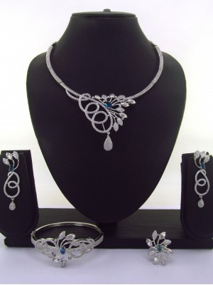 Party ready  High Quality CZ Collar Necklace Earring