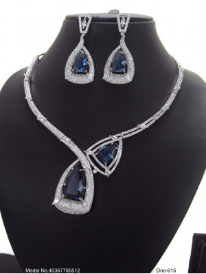 Indian Pakistani Bridal High Quality Cubic Zirconia Collar Necklace Earring