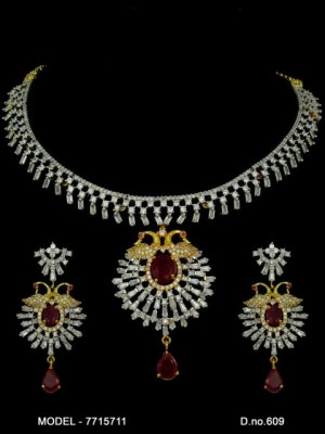 Indian Handcrafted Bridal High Quality CZ Collar Necklace Earring