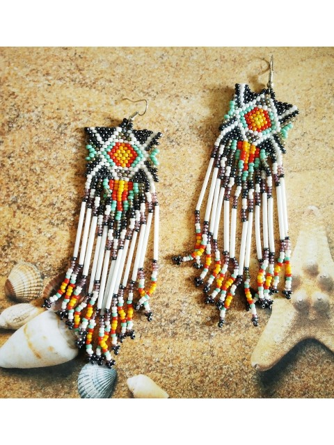 Handmade Boho Style Seed Bead Women Fringe Tassel Earrings