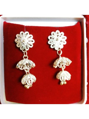 Silver Filigree Tarakasi Handcraft Earrings