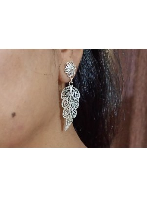 Silver Filigree Handcraft Leaf Earrings