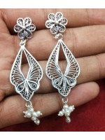 Oxidized Silver Filigree Handmade Earrings